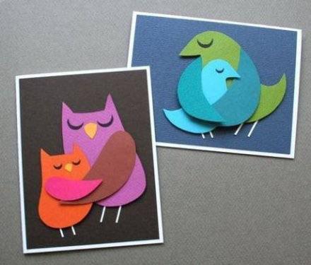 可爱的小鸟和妈妈剪纸