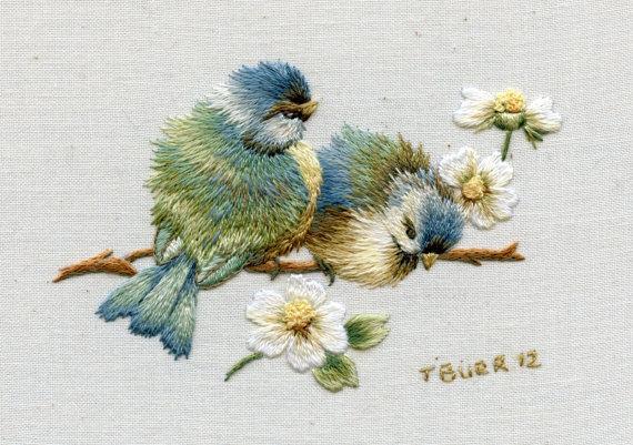 Trish的花鸟刺绣创作