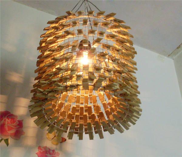 教你手工制作一个竹夹子吊灯