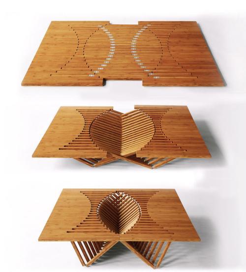 独特的铰链系统桌椅