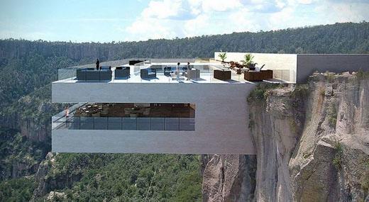 墨西哥铜峡谷的悬崖餐厅