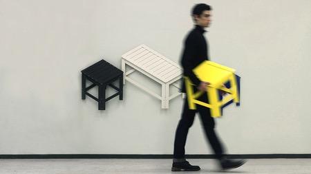 可以折叠成平面贴在墙上的板凳