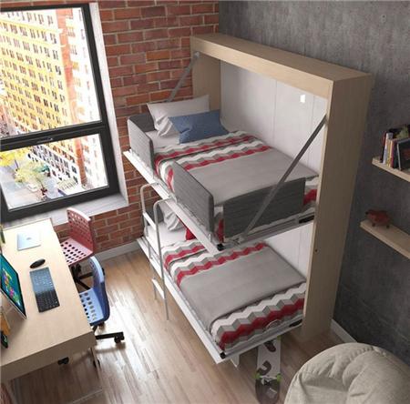 可收纳双层床