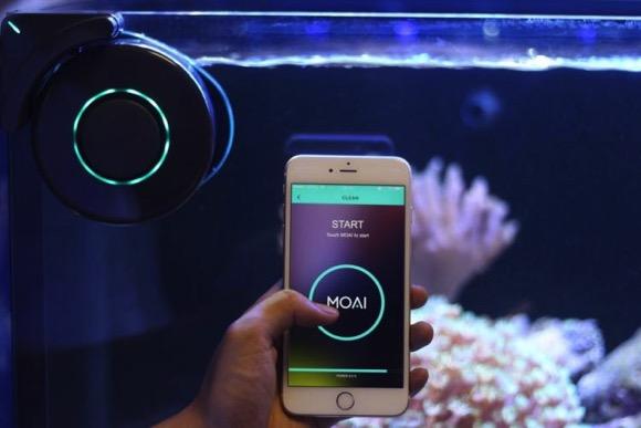 可远程遥控的自动清洗鱼缸机器人