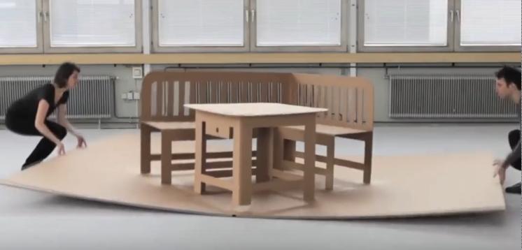 像立体贺卡一样打开的纸板家具,硬度十足