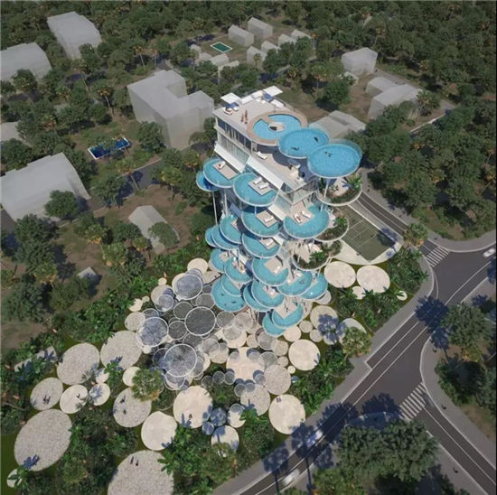 这栋创新式公寓的设计让每个单位都拥有一个独立泳池