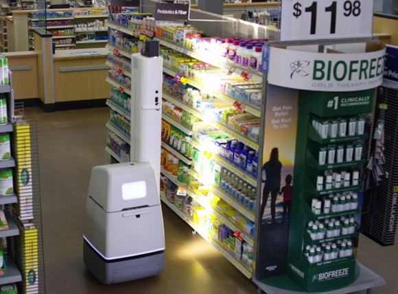 沃尔玛自动扫描货架机器人