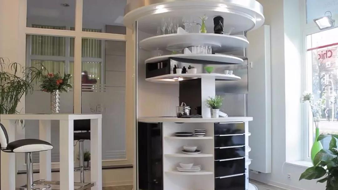德国一体化微型旋转式厨房 小户型节省空间的神器