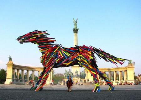 巨型木板动物雕塑