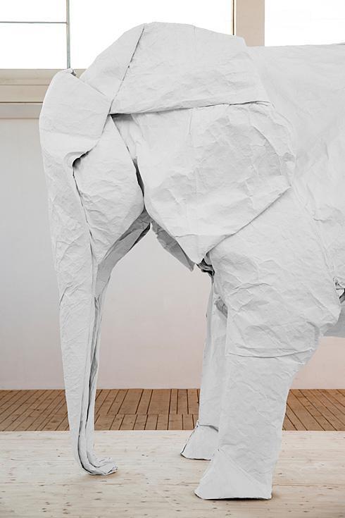 牛人用一张白纸折出真实尺寸大象-具体内容-玩意儿