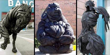 15个废旧轮胎做的雕塑