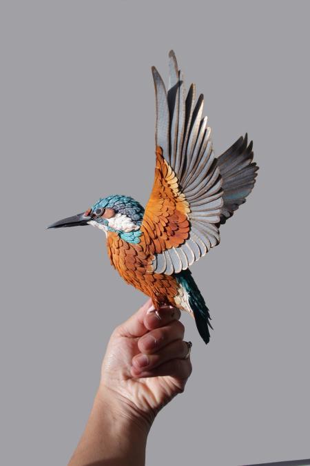 栩栩如生的纸鸟作品