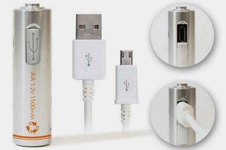 带USB充电功能的AA电池
