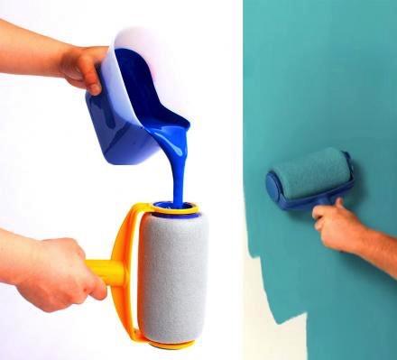 带油漆滚动的粉刷 刷墙更加光滑