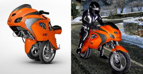 Uno一键变形电动摩托车,可在两轮与独轮之间切换