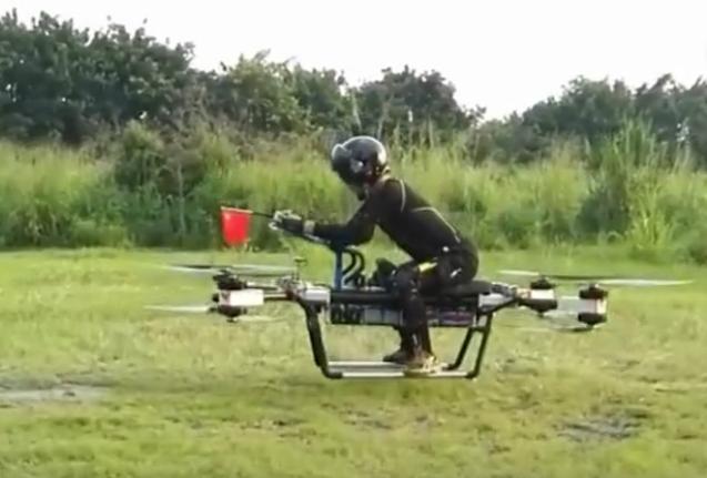 湖南小伙设计出四轴载人飞行器