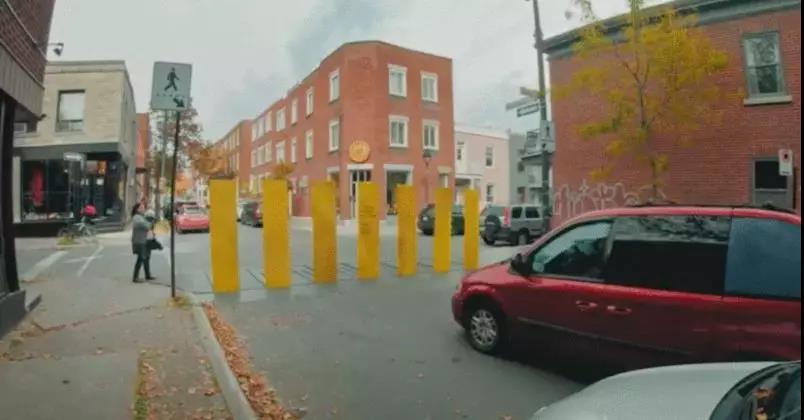 最安全斑马线,行人准备通过时会竖起来挡住车辆