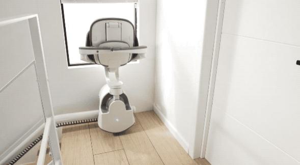 这个椅子可以帮助老人安全地上下楼梯