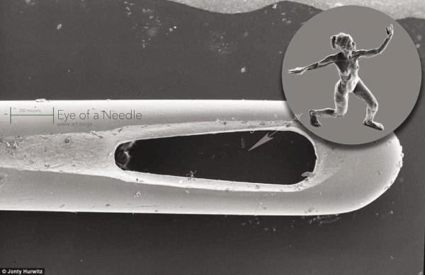 超微型3D打印雕塑 只有头发一半大小
