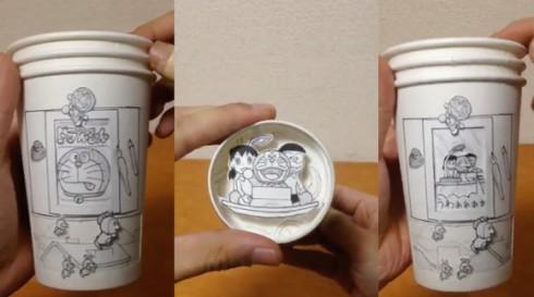 日本牛人用3个纸杯创作出哆啦A梦动态漫画