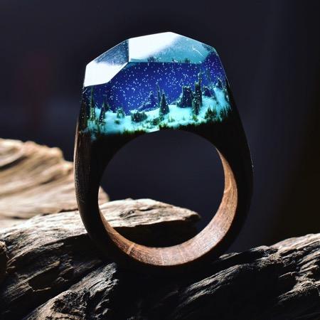 充满诗意的木质戒指