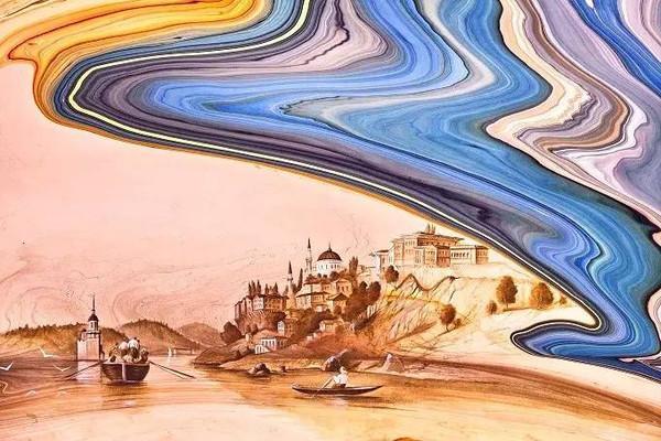 惊艳!他倒了一缸水,在水中画出了梵高《星夜》