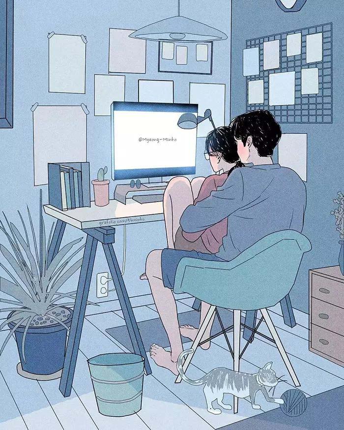 浪漫爱情插画 别人的从没令我失望