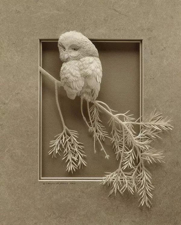 用无数碎纸拼成的立体动物画,细腻程度让人汗颜