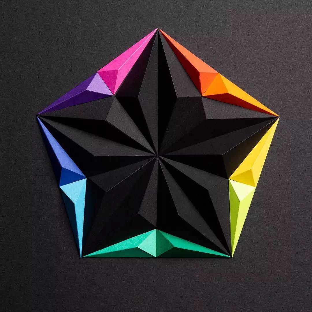 折纸加拼图,几何图形组成的纸艺动物