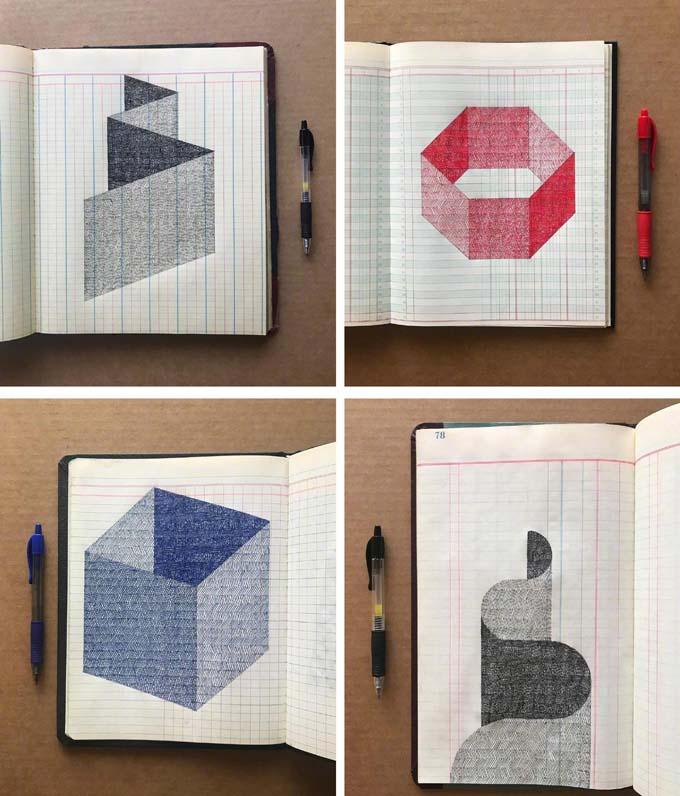 一支中性笔就能画出令人惊叹的复杂图案