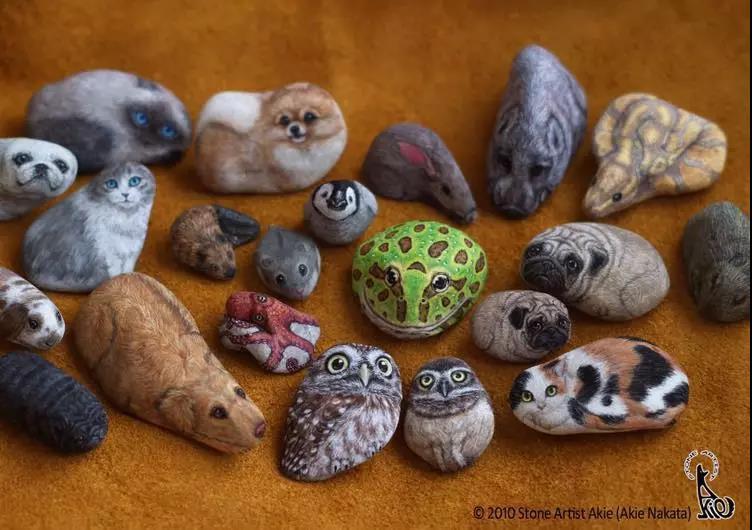 太可爱了!日本艺术家将石头画成小动物